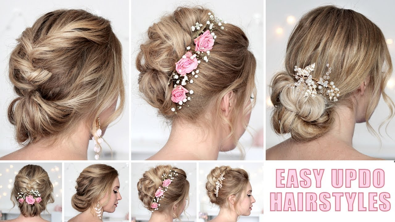 Wedding Hairstyles For Medium Long Hair Tutorial Quick And Easy Updos Youtube
