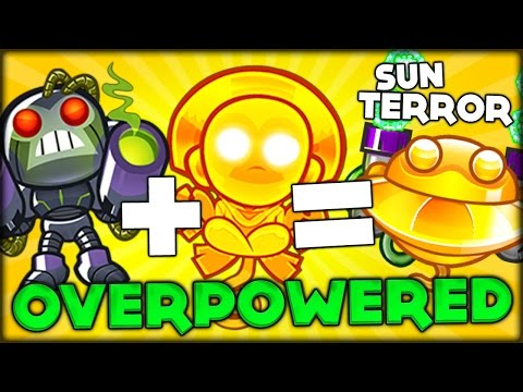NEW GLITCH COMBINING SUN GOD + ROBO MONKEY = SUN TERROR OVERPOWERED BTD 5!! (Bloons Tower Defense 5)