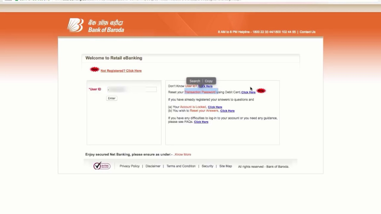 bank of baroda email id update