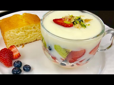Firni With Cake And Fruits ، فرنی کیک دار ومیوه دار