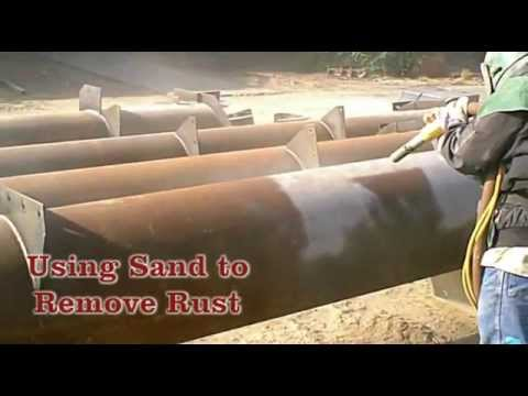 How To Remove Rust From Steel >> Blast It Clean - Cleaning Rust off Four 40-50 Foot Pipes - YouTube