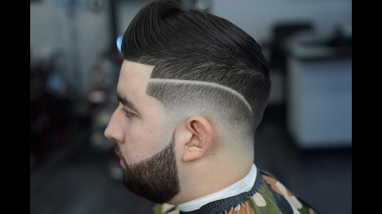 Drop Fade Tutorial Side Part Beard Line Up Youtube