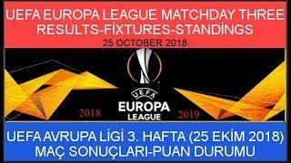 2018/2019 UEFA Avrupa Ligi 3. Hafta: Maç Sonuçları-Puan Durumu, Europa League Matchday Three Results