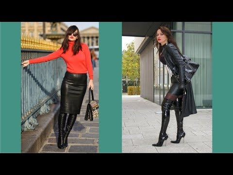 Women In Leather Skirts And Boots