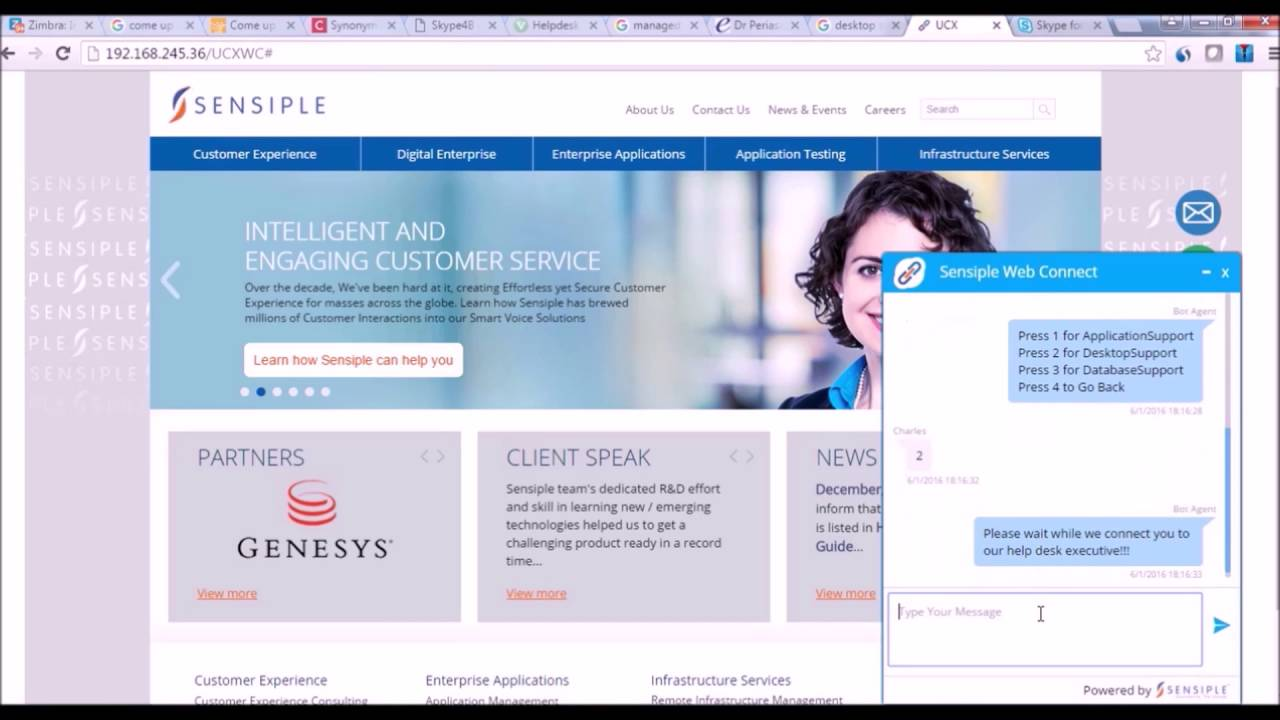 IT Support - Chat with Agent through Web Chat using Sensiple Skype for  Business Adapter