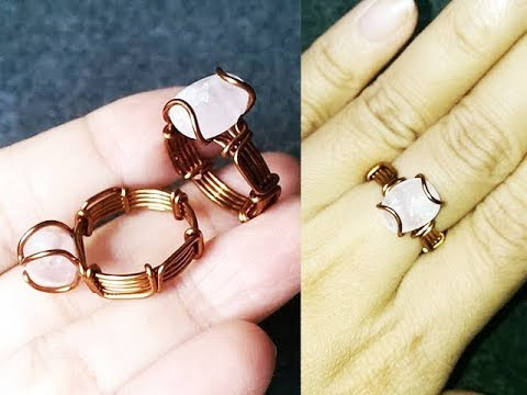 Simple ring with crystalline stone - DIY wire jewelry 257