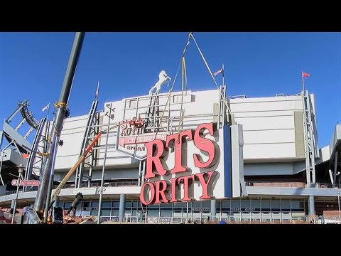 Sports Authority Field sign removal time lapse