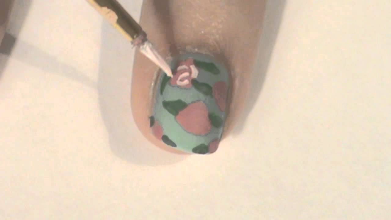 Vintage Rose Floral Nail Art Tutorial - YouTube