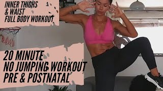 20 Minute Inner Thigh and Waist Full Body ||NO JUMPING fat burning home workout || pregnancy workout