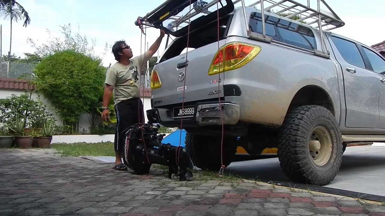 Home made Roof rack with boat loader - YouTube
