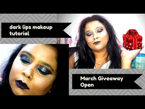 Black Lips Glam Makeup Tutorial On Indian Skin|Insight & WetnWild March Giveaway|Feb Winner Revealed