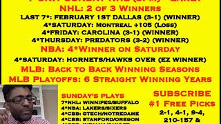 FREE NBA PICKS,  7*NHL TODAY EARLY @ 3PM, MLB: BACK/BACK WINNING SEASONS [02-10-19]