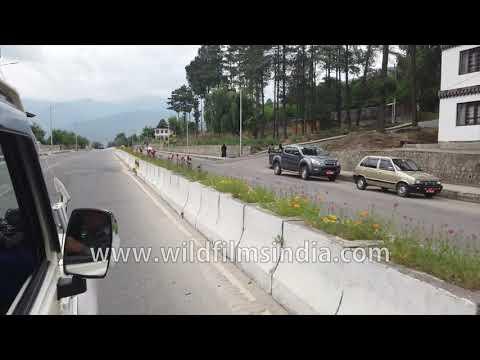 Driving around in the capital of Bhutan, Thimphu