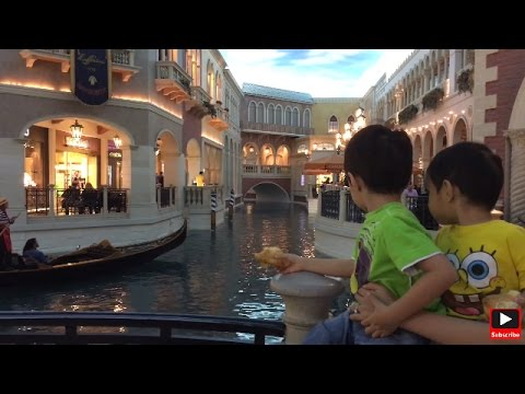 Venetian Gondola Rides.  Las Vegas Vacation with Toddlers. Vegas video for kids