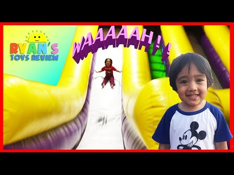Thumbnail: HUGE Indoor playground GIANT INFLATABLE SLIDES and Bounce House for kids play center Ryan ToysReview