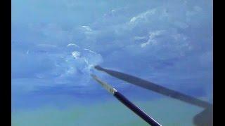 как рисовать небо маслом, цвет неба , рисуем облака маслом