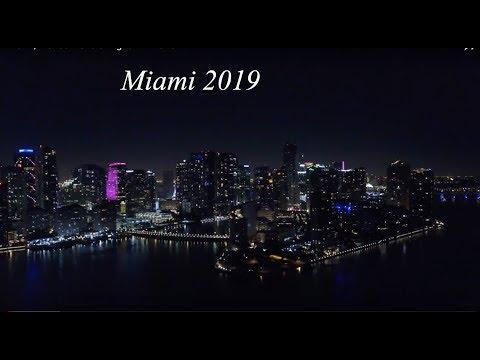 Miami, Florida Aerials Night 4K Drone
