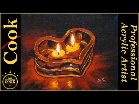 Valentine Twin Candle Heart an Acrylic Painting Tutorial for Beginners