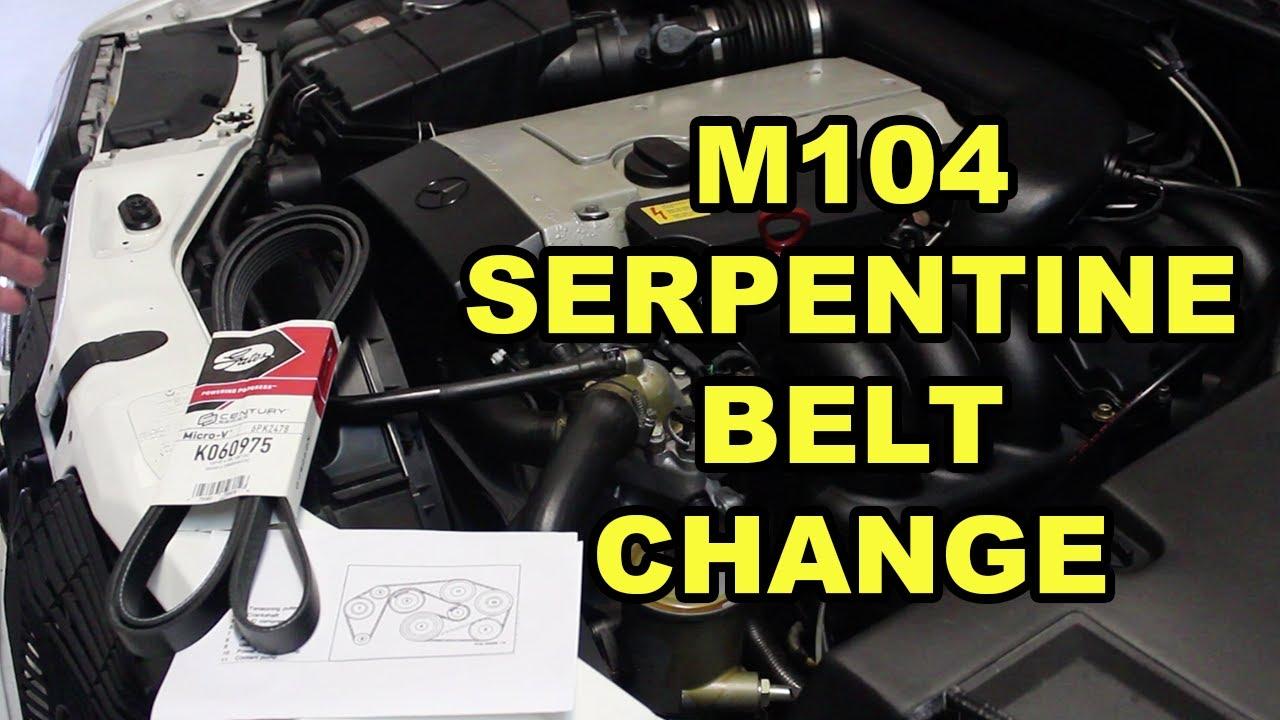 mercedes benz m104 serpentine belt replacement w140  [ 1280 x 720 Pixel ]
