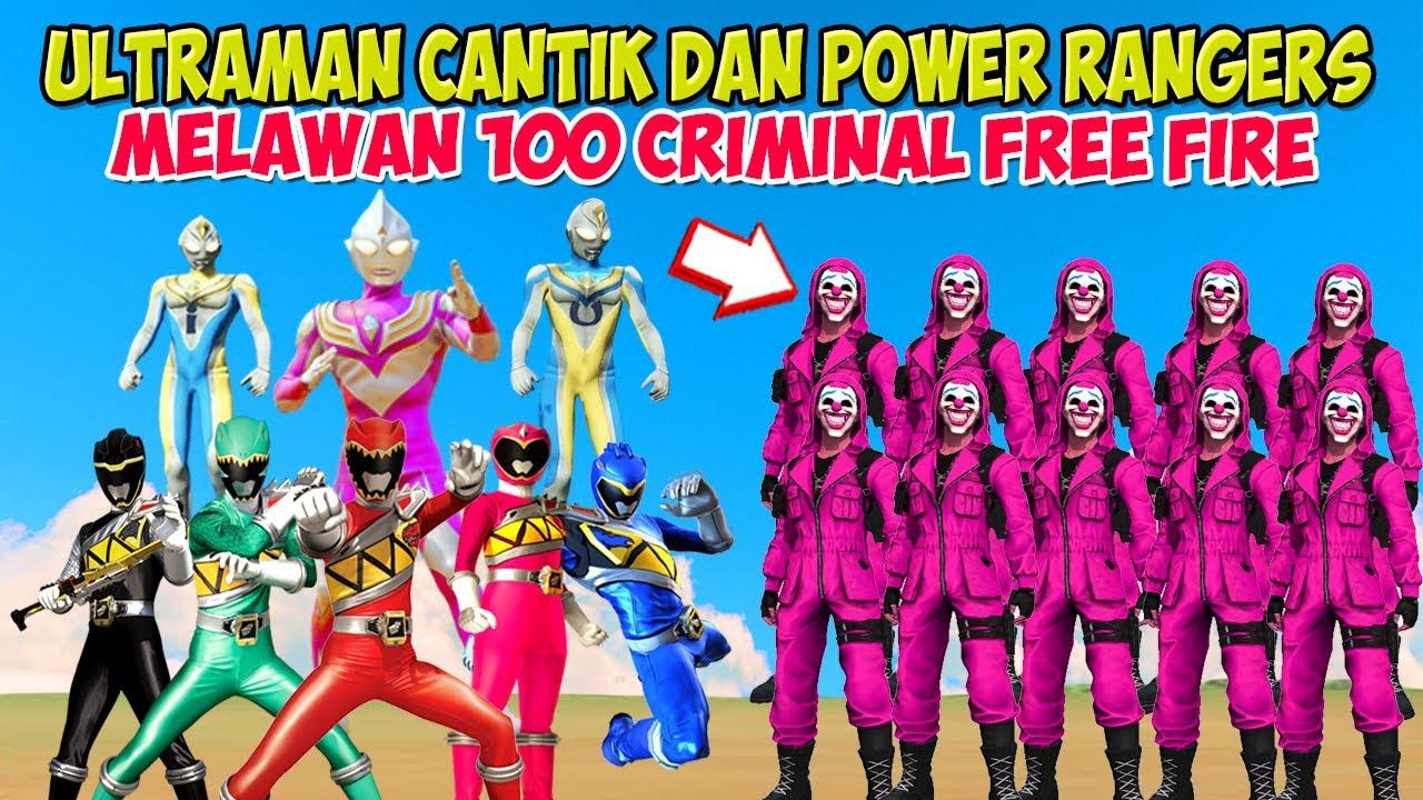 ULTRAMAN CANTIK DAN ULTRAMAN UPIN IPIN BERSAMA POWER RANGERS PERANG VS CRIMINAL FREE FIRE, GTA Lucu