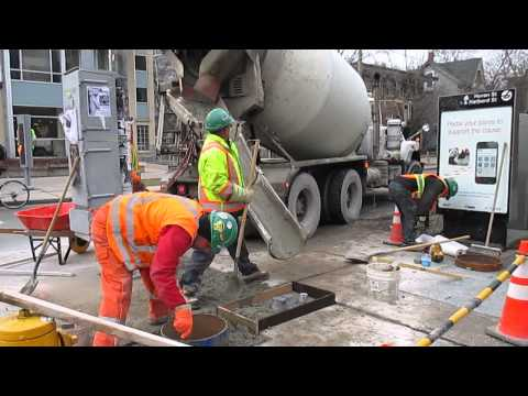 Cement truck in action