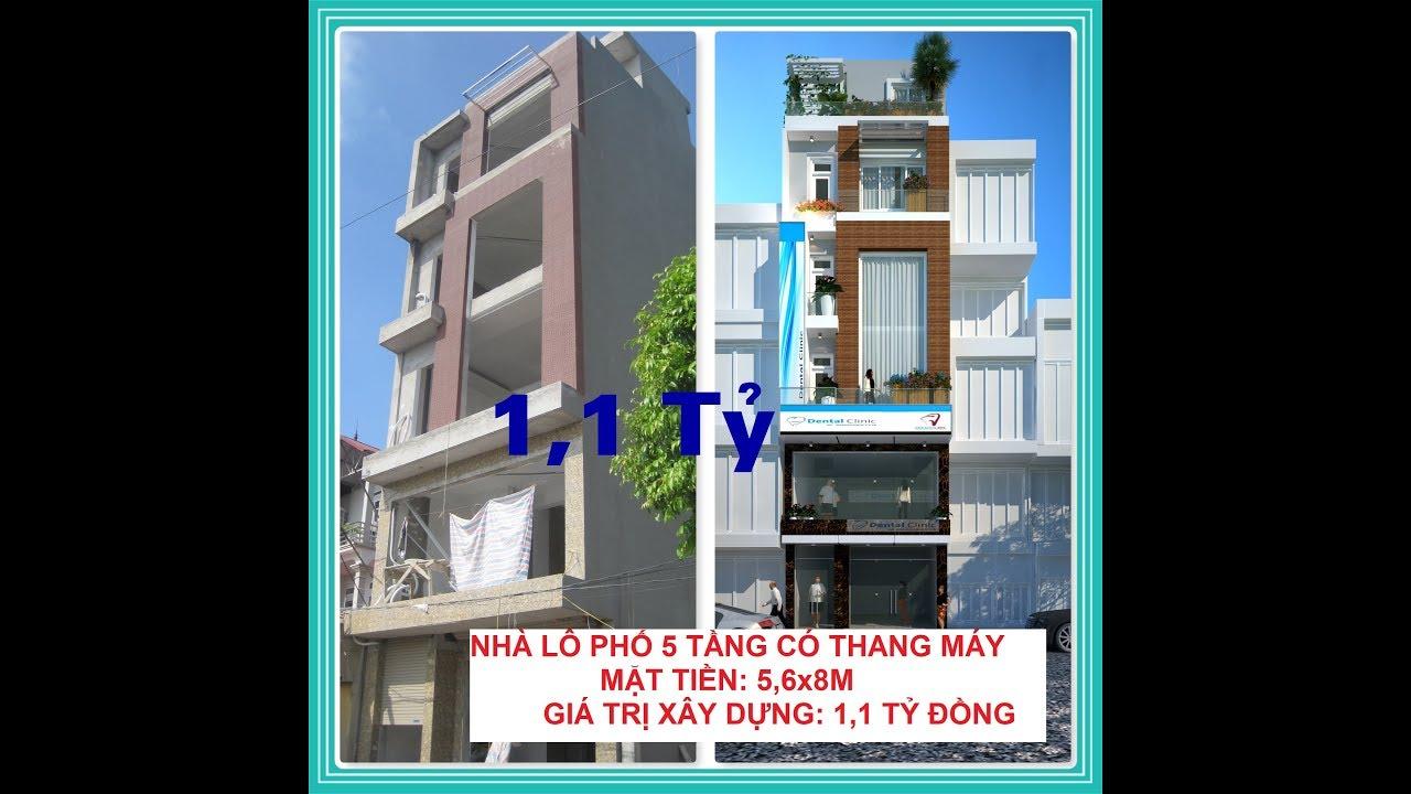 Nhà Phố 5 tầng, có thang máy, bản vẽ đầy đủ nội thất, 1.1 tỷ. Nhà Đẹp/ mẫu số 2