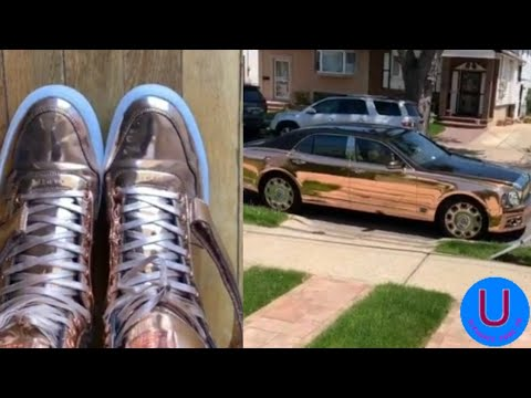 50 Cent shoes matching the colour of his car
