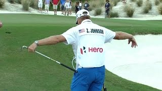 Zach Johnson holes out for birdie at the Hero World Challenge