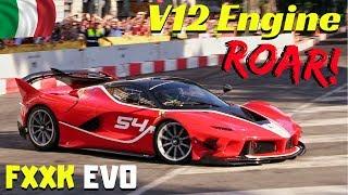 Ferrari FXX-K EVO on the street!!! - V12 Engine ROAR & Downshifts - Formula 1 Milan Festival 2018