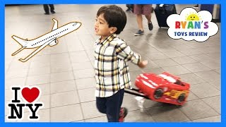 Ryan ToysReview Family Fun Trip Airplane to NYC Kinder Surprise Eggs Opening Kids Disney Toys Mashem