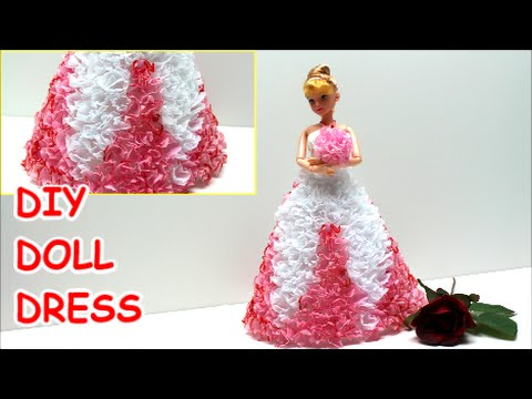 How to Make a Princess/Prom Doll Dress DIY from Tissue Paper - Doll Dress Fun