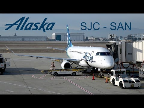 [4K] Alaska First Class ERJ-175  San Jose - San Diego | Flight Report