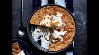 Oatmeal-Raisin Skillet Cookie with Miso-Caramel Sauce | Live