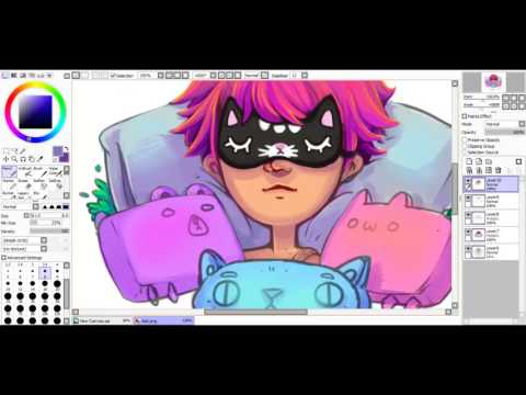 Sleeping girl & cat pillows speedpaint ଲ(ⓛ ω ⓛ)ଲ