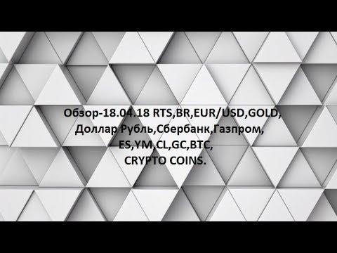 Обзор-18.04.18 RTS,BR,EUR/USD,GOLD, Доллар Рубль,Сбербанк,Газпром,ES,YM,CL,GC,BTC,CRYPTO COINS