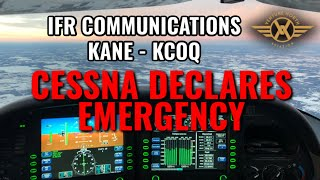 Cirrus SR22 IFR Flight with ATC Communications - Cessna Declares Emergency at KCOQ!