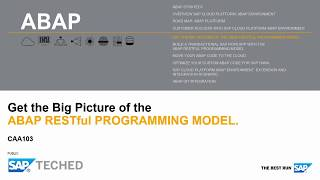 ABAP RESTful Programming Mode [Live Demo], SAP TechEd Lecture