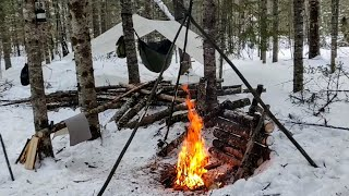 Solo Winter Overnight after Heavy Snowstorm | Snowshoeing | Hammock Camp | Bushcraft | Campfire Cook