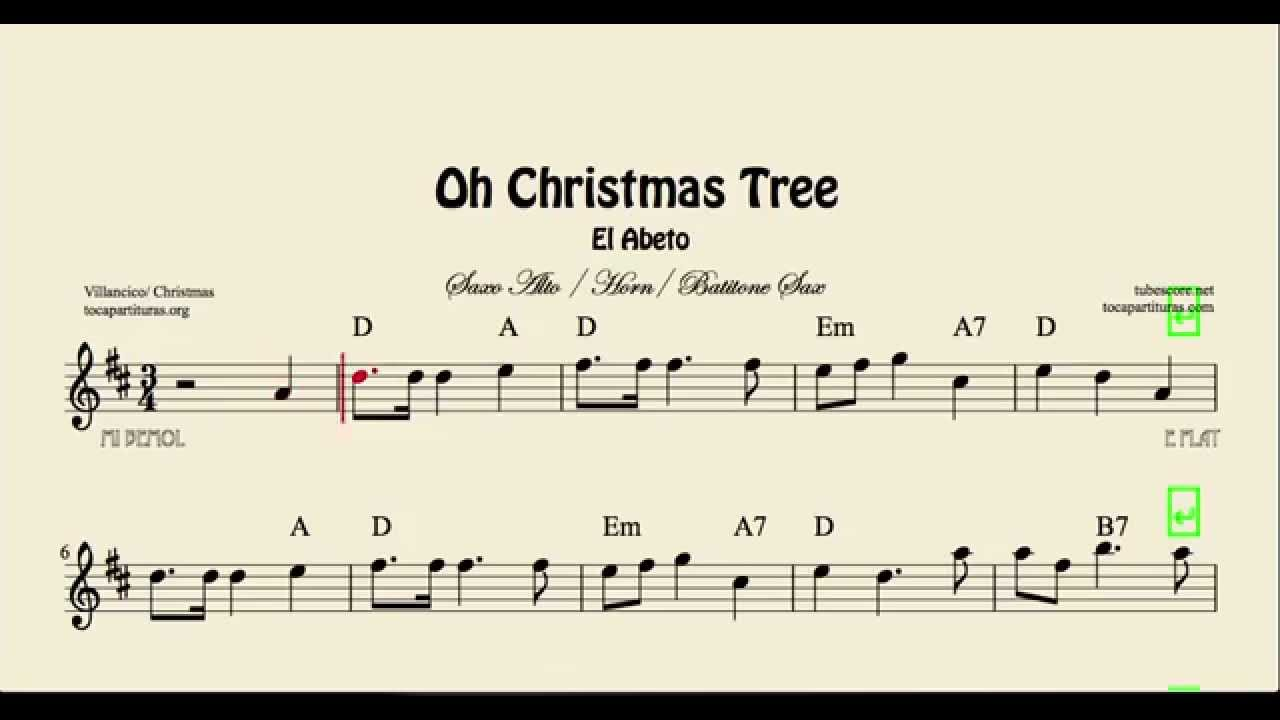 Oh Christmas Tree Sheet Music for Alto Sax Baritone Sax and Horn El ...