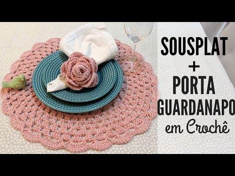 SOUSPLAT + PORTA GUARDANAPO EM CROCHÊ/ DIANE GONÇALVES