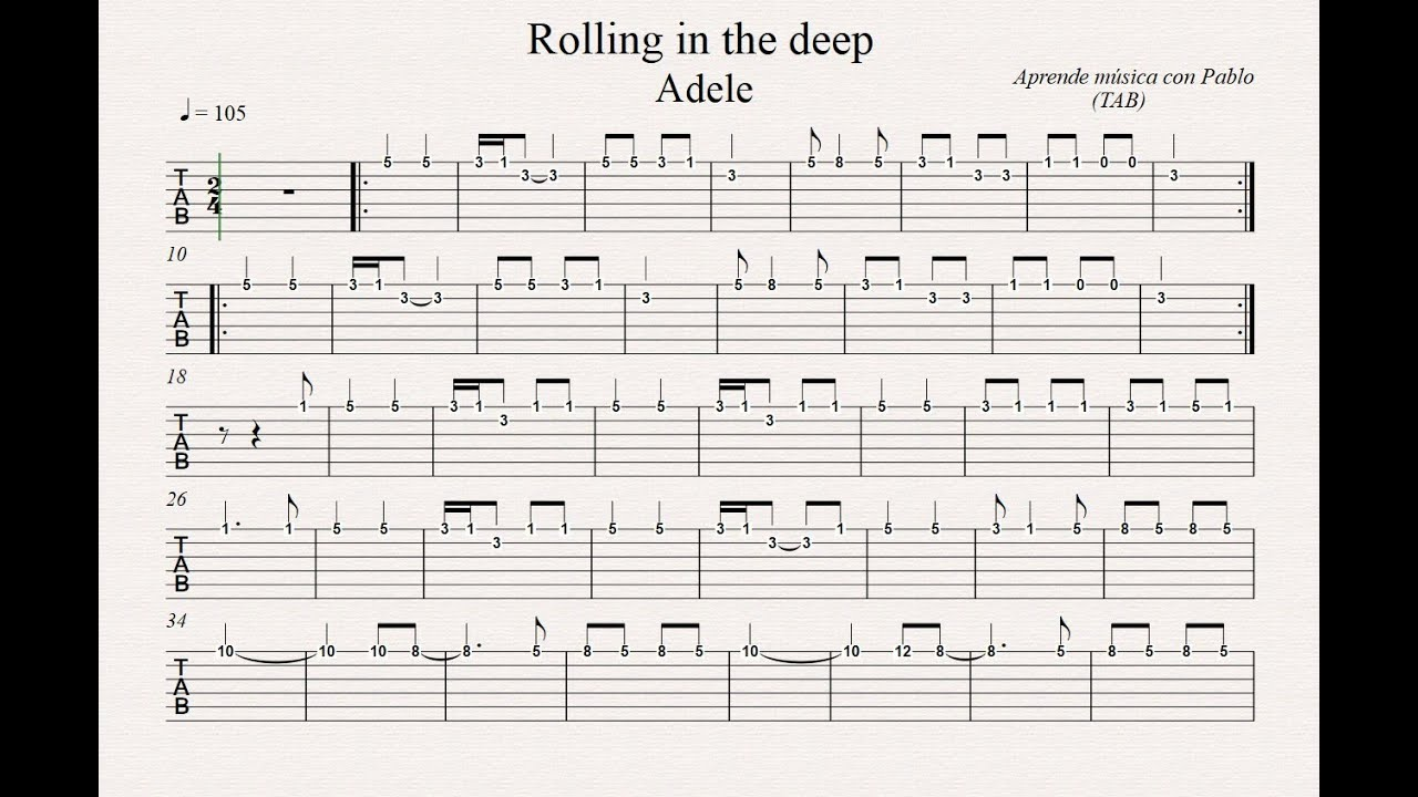 ROLLING IN THE DEEP: TAB (guitarra...) (tablatura con ... Rolling In The Deep Chords