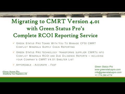 Green Status Pro Provides Conflict Minerals CMRT V4 0 Migration Services