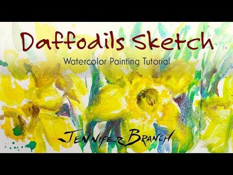 Watercolor Painting Tutorial, Daffodils Sketch 4k