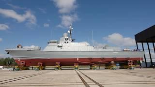 Состоялась церемония спуска на воду малого ракетного корабля проекта 22800 «Ураган»