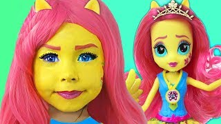 Kids Makeup My Little Pony Fluttershy Equestria Girl Little girl pretend play with Doll & DRESS UP