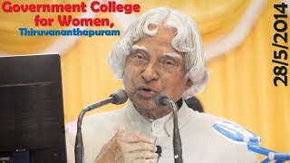 Dr. APJ Abdul Kalam at  Government College for Women, Thiruvananthapuram, 28/5/2014