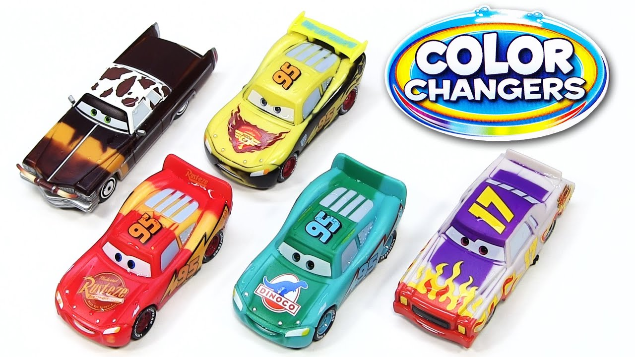 Coloring Cars 2 Games - 5 color changers cars 2 darrel cartrip tex dinoco lightning mcqueen rusteze water toys youtube