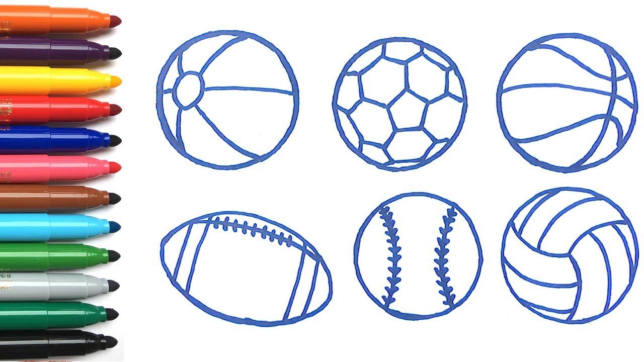 Menggambar Bola Olahraga Untuk Anak Anak
