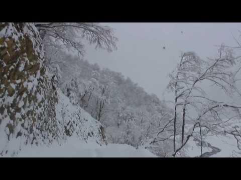 AZERBAIJAN - Snowy day in the Mountains. Shaki District.