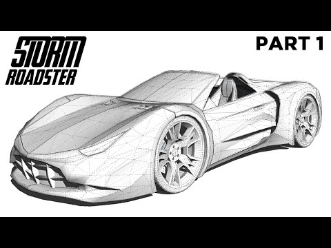 Creating the Storm Roadster Supercar in SketchUp - Part 1 (Time Lapse)